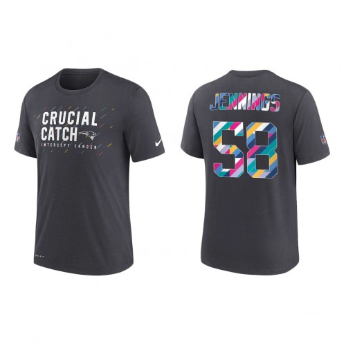Anfernee Jennings New England Patriots Nike Charcoal 2021 NFL Crucial Catch Performance T-Shirt