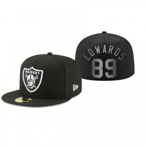 Bryan Edwards Raiders Black Omaha 59FIFTY Fitted Hat