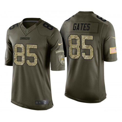Antonio Gates Los Angeles Chargers Green Camo Salute to Service Jersey