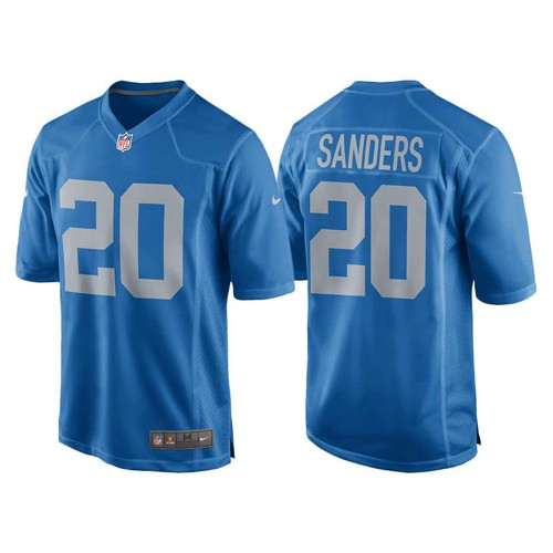 2017 Throwback Retired Player Detroit Lions Barry Sanders Blue Jersey