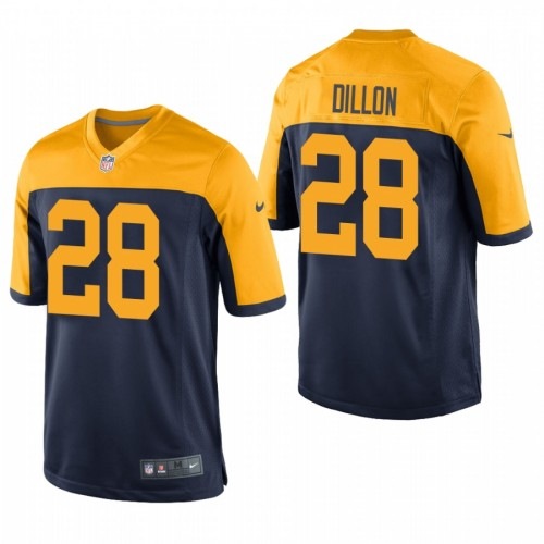A.J. Dillon #28 Green Bay Packers Navy Throwback Game Jersey 2020 NFL Draft