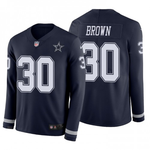 Anthony Brown #30 Dallas Cowboys Therma Long Sleeve Navy Jersey
