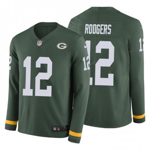 Aaron Rodgers #12 Green Bay Packers Therma Long Sleeve Green Jersey