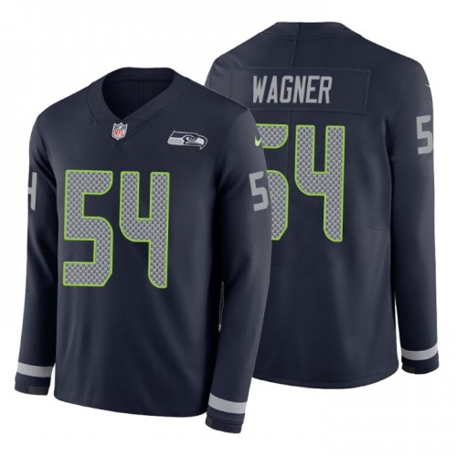 Bobby Wagner #54 Seattle Seahawks Therma Long Sleeve Navy Jersey