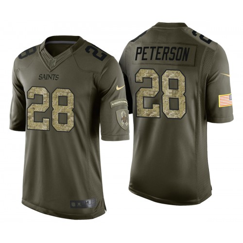 Adrian Peterson New Orleans Saints Green Camo Salute to Service Jersey