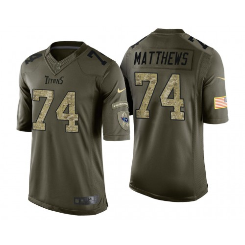 Bruce Matthews Tennessee Titans Green Camo Salute to Service Jersey